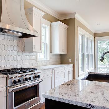 White Honeycomb Backsplash Tile Design Ideas