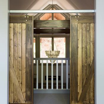 Gray Barn Doors Transitional Media Room Dillon Kyle Architecture