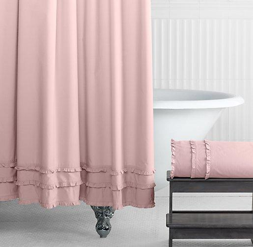 vintage ruffle pink shower curtain