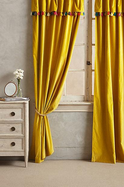 Firenze Yellow Velvet Tassel Curtain