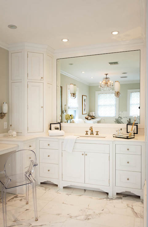 Corner Cabinets - Transitional - bathroom - Crown Point ... on Corner Sconce Shelf Cabinet id=31032