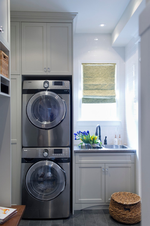 Stacked Washer Dryer Transitional Laundry Room