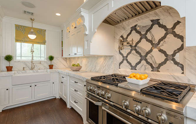 Marble Quatrefoil Tiles Transitional Kitchen Space Saavy Design