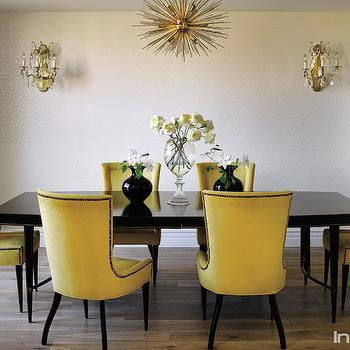 Metallic Wallpaper Contemporary Dining Room
