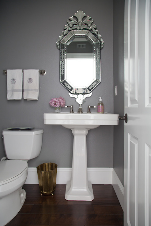 Gray Powder Rooms Transitional Bathroom Benjamin