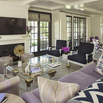 Martha OHara Interiors Living Rooms Iron Drapery Rod Iron Curtain Rod Ivory Drapes Ivory