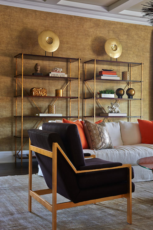 Brass Etagere Contemporary Living Room Lillian August