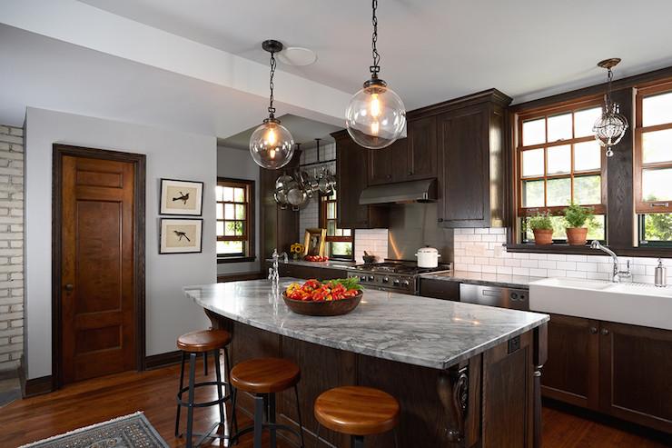 Arabesque White Granite Transitional Kitchen