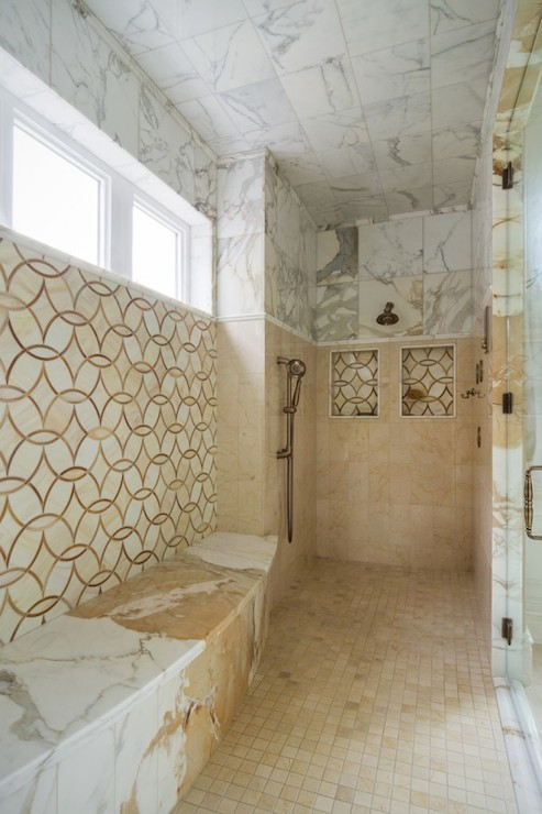 Gold Marble Tiles Transitional Bathroom Alice Lane Home