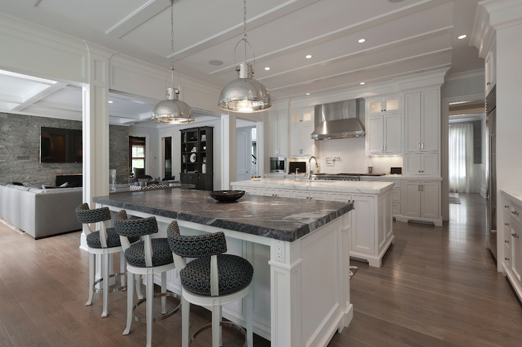 White Kitchen Island With Black Marble Countertop
