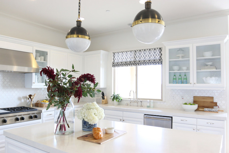 Frosty Carrina Counters Transitional Kitchen Benjamin Moore White Heron Shea McGee Design