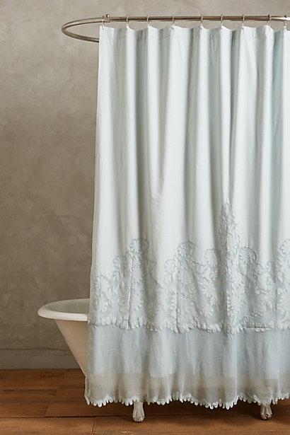sissonne pale blue lace shower curtain