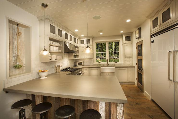 Reclaimed Wood Kitchen Peninsula Cottage Kitchen