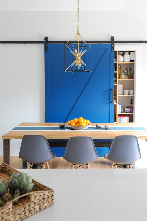 Pantry With Blue Barn Door Transitional Dining Room