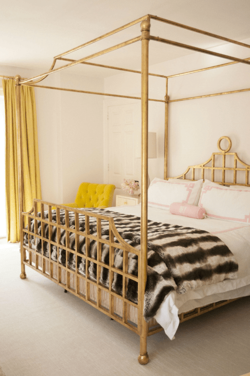 Gold Canopy Bed Contemporary Bedroom Cynthia Brooks Design