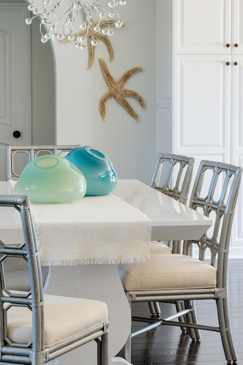 White Dining Table With Gray Dining Chairs Cottage Dining Room Lauren Christine Henno