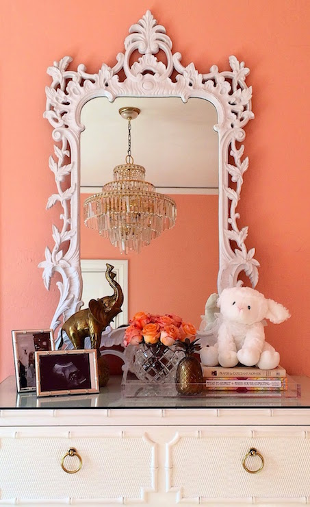 White Baroque Mirror Hollywood Regency Nursery Sherwin Williams Jovial Luxe Report