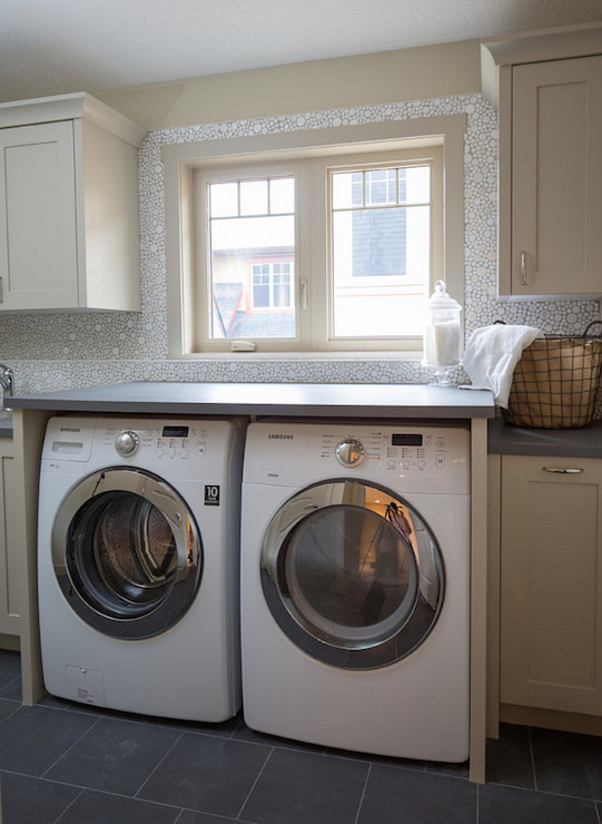 mosaic bubble tile transitional laundry room on laundry room wall covering ideas id=85784