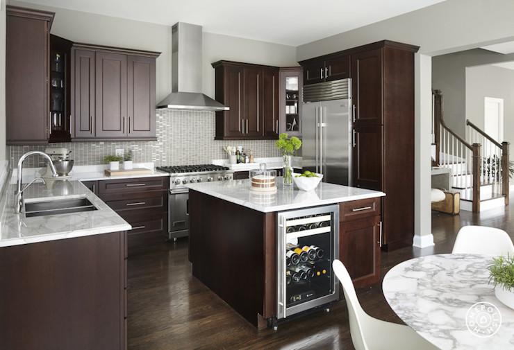 Kitchen Island with Wine Cooler - Contemporary - Kitchen on Modern Backsplash For Dark Countertops  id=65600