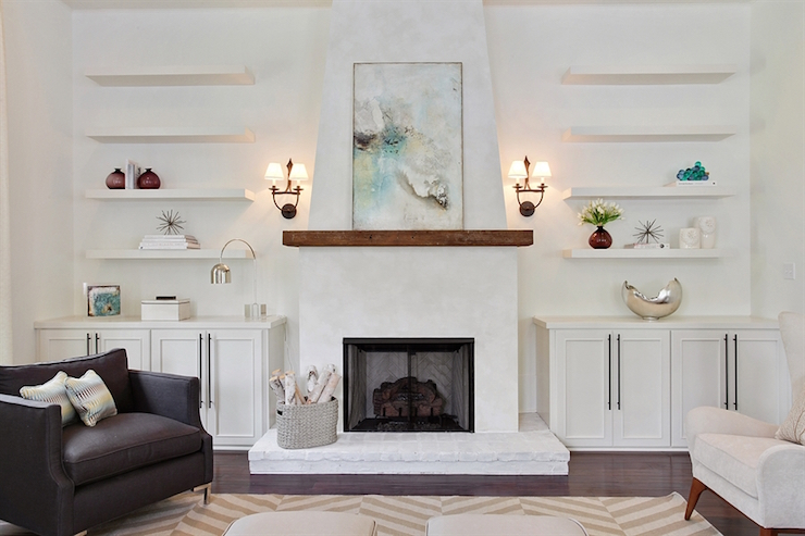 Fireplace with Floating Shelves - Transitional - Living Room on Shelf Sconces For Living Rooms Contemporary id=50574