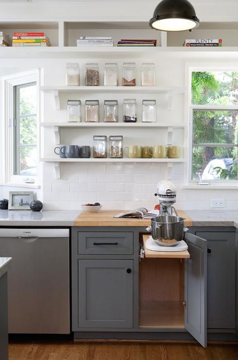 Pop Up Mixer Shelf Transitional Kitchen