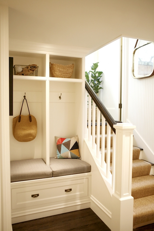 Basement Mudroom Transitional Laundry Room | Basement Stairs With Landing | English Basement | Grand Entrance | Spiral | Wood | Hardwood
