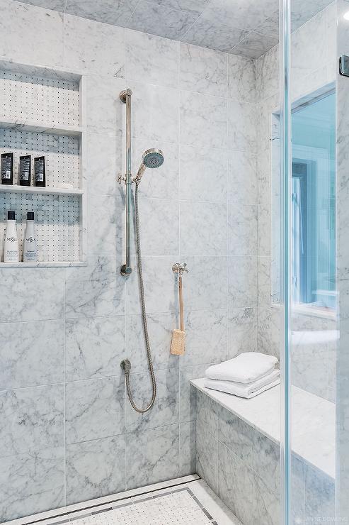 Walk In Shower With Window Transitional Bathroom
