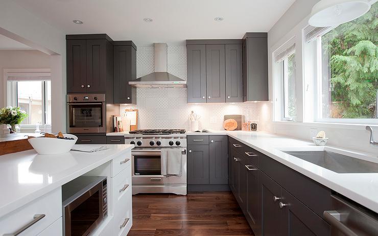 White Cabinets With Dark Grey Countertops Design Ideas