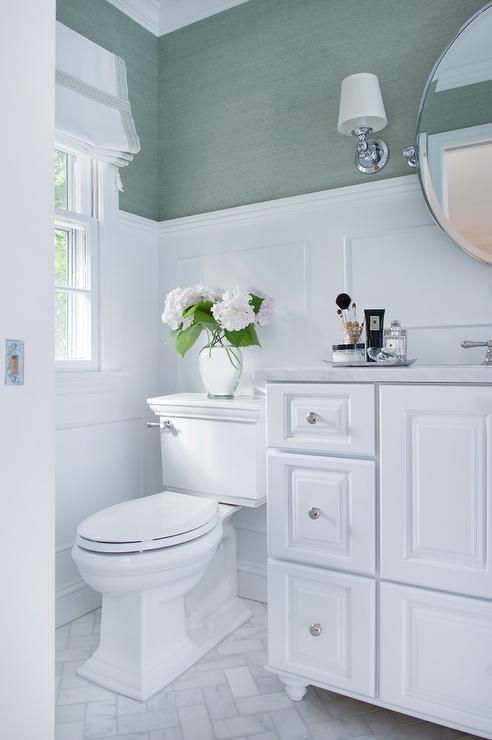 White Bathroom With Sea Foam Green Accents Transitional Bathroom