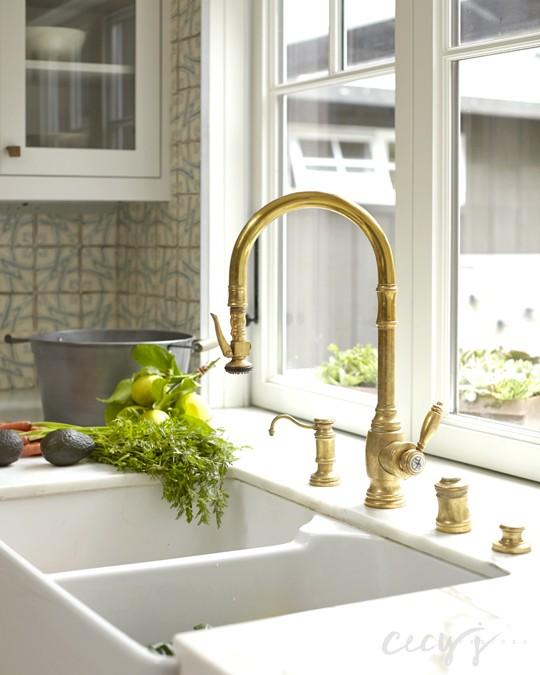 dual apron kitchen sink gold gooseneck faucet folding windows to patio Brushed Gold Kitchen Faucet