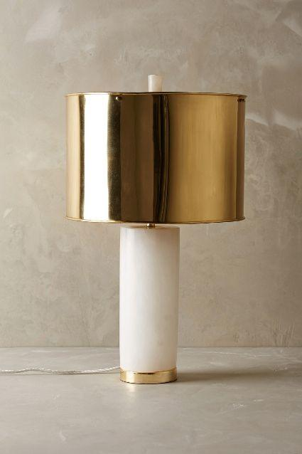 Frosted Marble White And Brass Lamp Ensemble