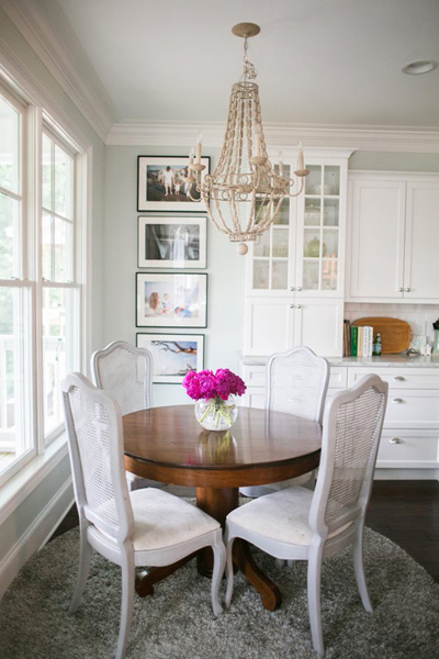 Grey French Cane Back Dining Chairs Transitional Dining Room