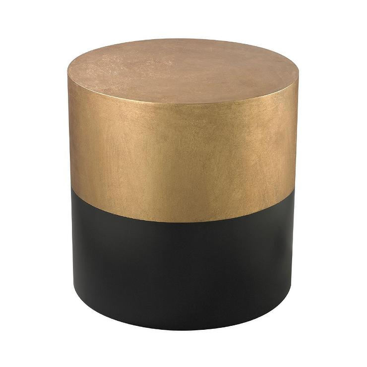 LS Dimond Home Black And Gold Draper Drum Table In Black