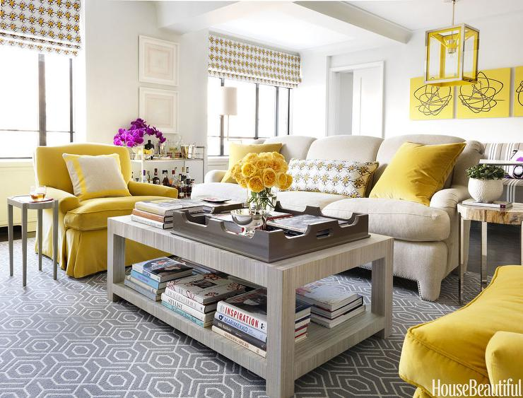 Contemporary Yellow And Gray Living Room Contemporary Living Room Benjamin Moore White Wisp