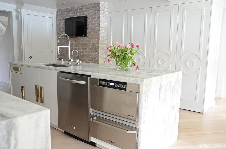 kitchen island with warming drawer and