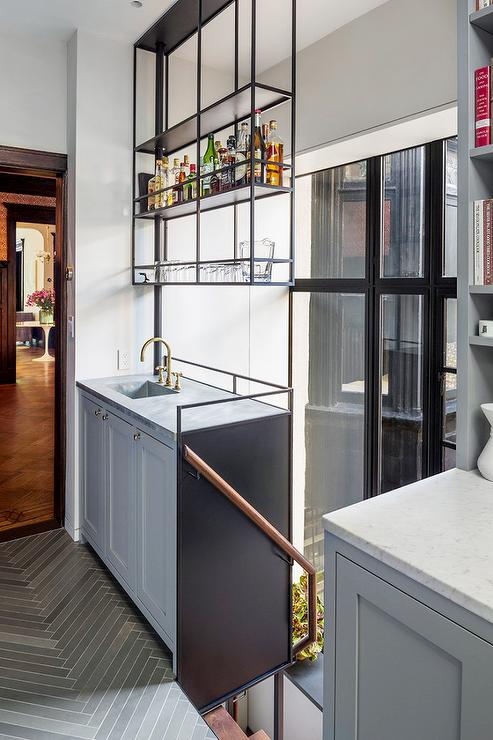 Hanging Kitchen Shelves Suspended From Ceiling Contemporary Kitchen Benjamin Moore Deep Silver