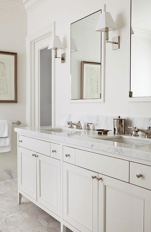 cream bathroom vanity with white marble