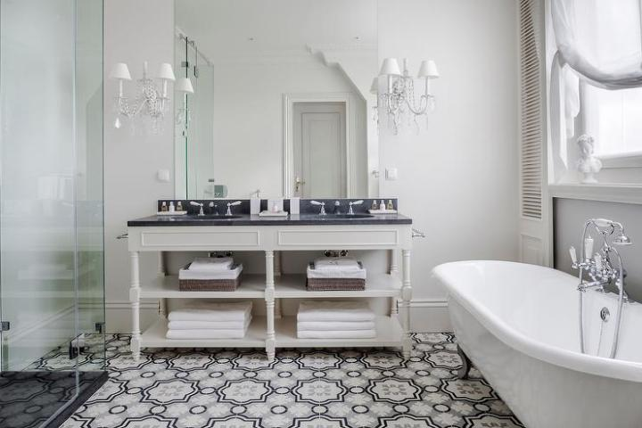 Cream and Gray Moroccan Floor Tiles   Transitional   Bathroom Cream and Gray Moroccan Floor Tiles