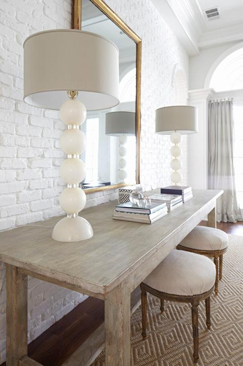 Living Room With White Brick Walls Transitional Living