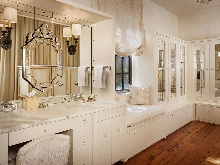 Makeup Vanity with Mirror on Top of Mirror - Transitional ... on Make Up Room Ideas  id=92617