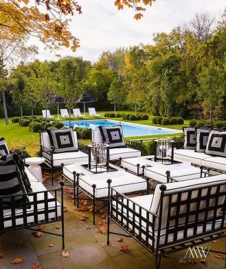 Covered Patio with Wrought Iron Furniture   Transitional   Deck patio Chic patio features wrought iron sofas  chairs and ottomans covered in  black and white cushions placed in front of the in ground pool