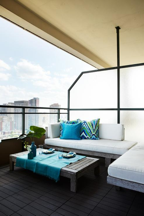 balcony with turquoise accents