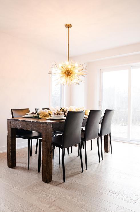 Brass Sea Urchin Chandelier In Dining Room