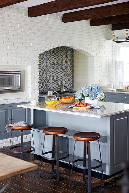 White Brick Kitchen Walls Transitional Kitchen