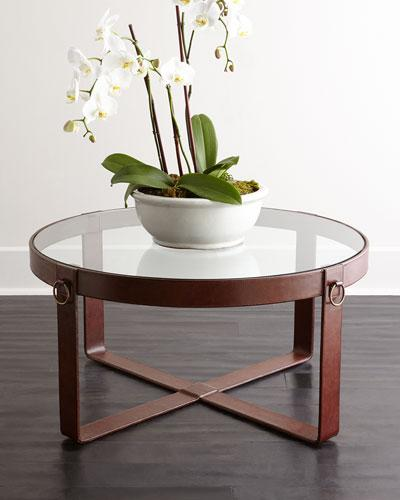 lancaster brown leather coffee table