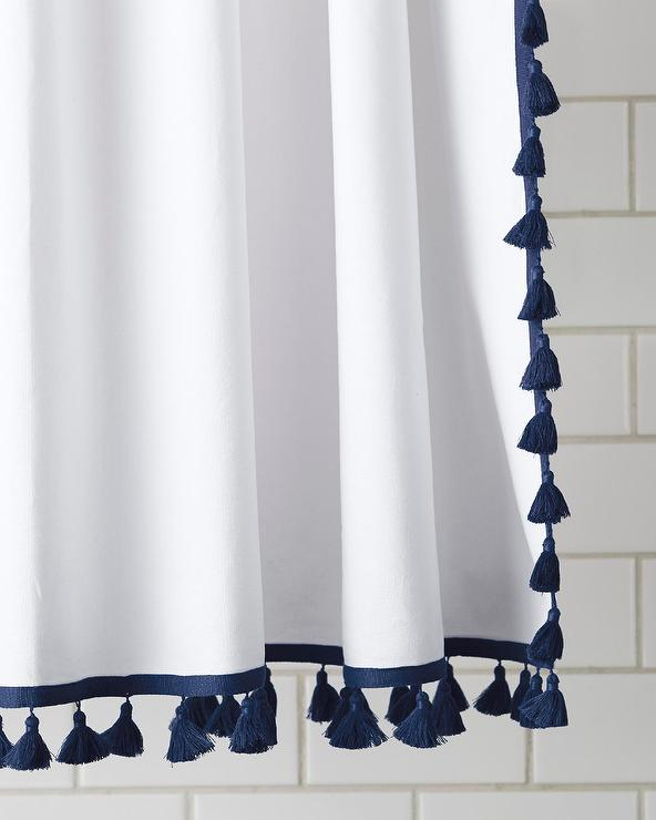 navy and white french tassel shower curtain