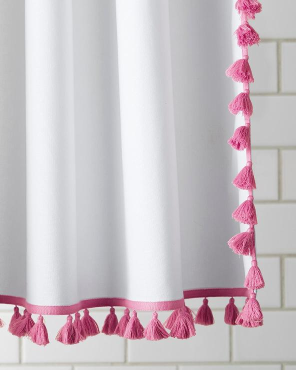 pink and white french tassel shower curtain