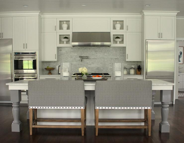 Gray Island Bench With Nailhead Trim Transitional Kitchen