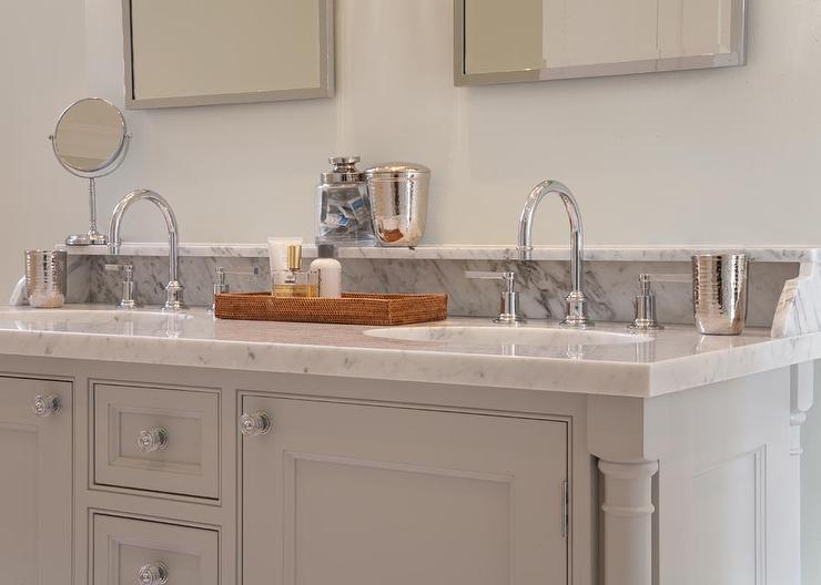 gray bathroom vanity with marble backsplash shelf - transitional
