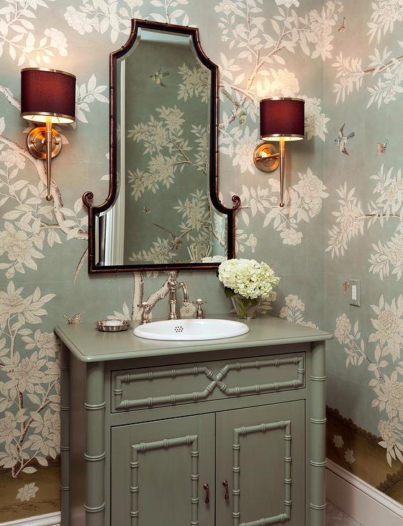 Gray Bamboo Washstand Vanity French Bathroom